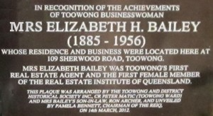 Plaque honouring Elizabeth Bailey