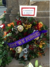 Wreath laid at Soldiers' Memorial by the Toowong and District Historical Society